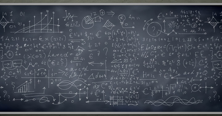 Calculus problems on a chalkboard
